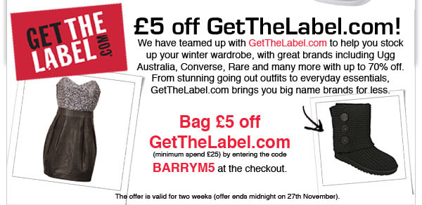 £5 off GetTheLabel.com