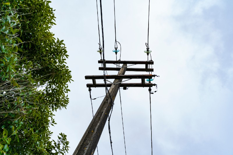 Bottom-up view of a utility pole with a background of sky and greenery.