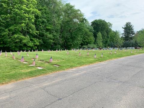 Fairview Cemetery, the Veterans Section 13V, after the American flags were planted by members of the West Hartford RTC