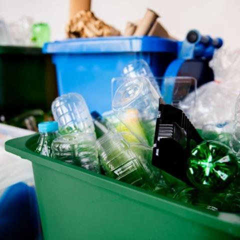 Sorted recyclables in a recycling bin