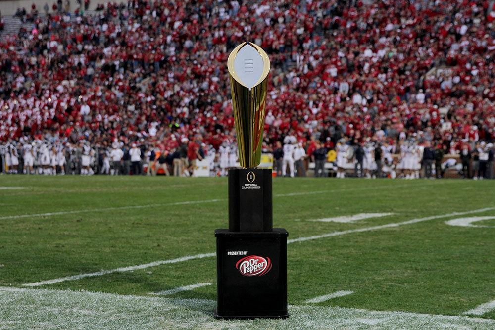 College Football Playoff trophy on field