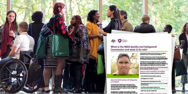 Background image shows a group of participants with a feature of the welcome pack layered on top.