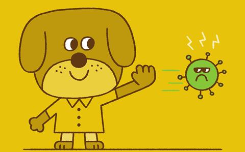 Dog waving at virus