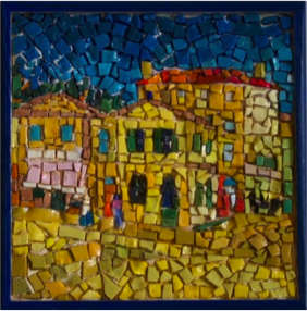 Colorful mosaic of old village.
