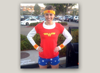 Photo: Jacquelyn Clair (and Kimberly Hardcastle not pictured) ran the Carlsbad Half Marathon dressed in super hero gear. Kim will be running the New York Marathon in September, and is looking for running mates.  Any takers? (Super hero costumes optional.)
