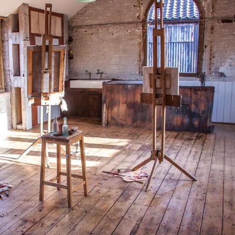 Art studio with easel