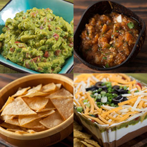 Chips, guacamole, salsa and 7-layer dip