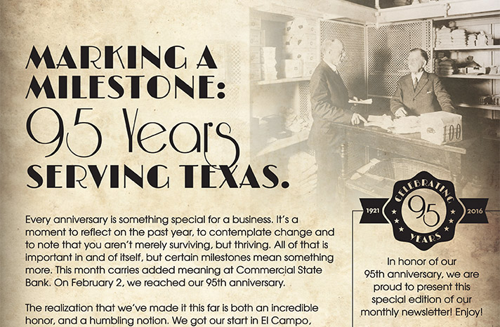 Marking a Milestone: 95 Years serving Texas
