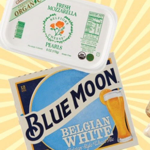 Belfiore mozzarella and Blue Moon Belgian White beer