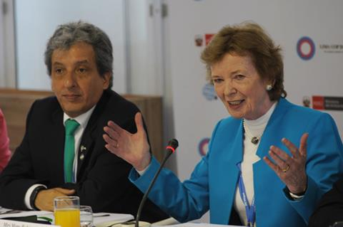 Mary Robinson at the COP20 climate talks in December 2014