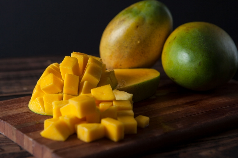Mangos on a cutting board