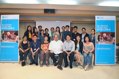 Participants and Trainers of the pilot run of the British Council's Academic Teaching Excellence Course with Central Colleges of the Philippines President
