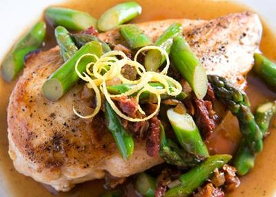Roasted Chicken with Asparagus Pan Sauce