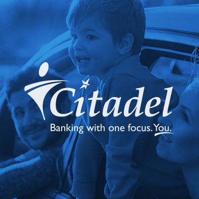 Citadel logo with family in car