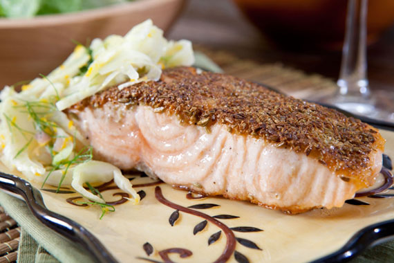 Fennel-crusted salmon