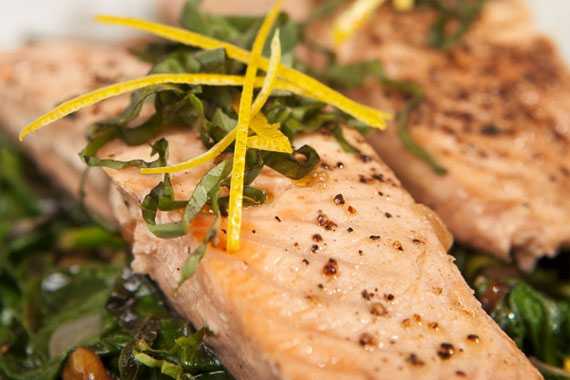 Pan-Roasted Salmon with Spinach and Meyer Lemon