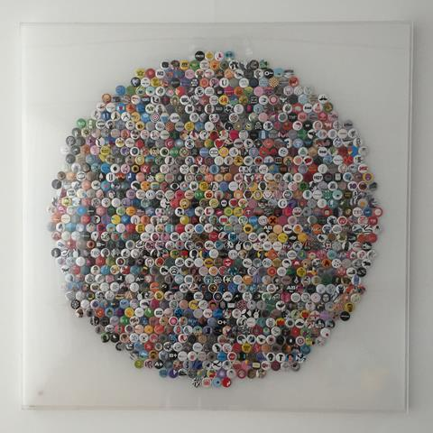 1,000 Stereohype badges in perspex frame