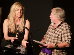 Bill Oddie and Sarah Class on stage together. ©  Halesworth Arts Festival.