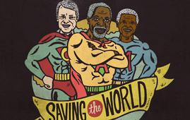"""Saving the world"" illustration of Jimmy Carter, Kofi Annan and Nelson Mandela"