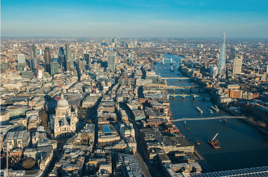 London by day aerial shot