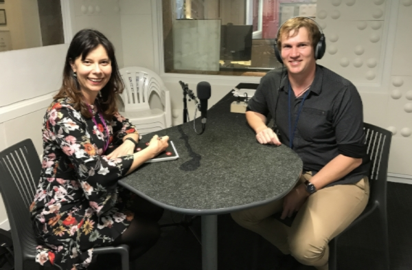 Image of radio show presenter and guest