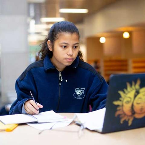girl studying with laptop