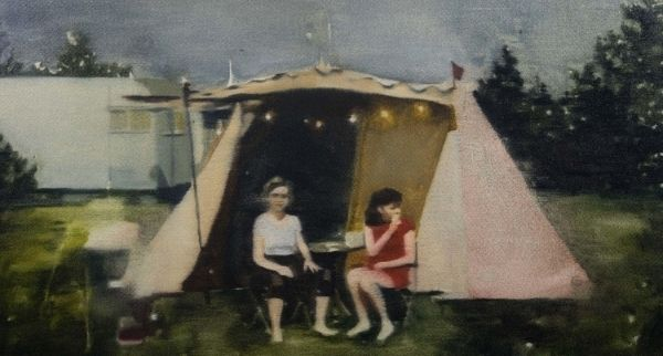 Painting of woman outside a tent