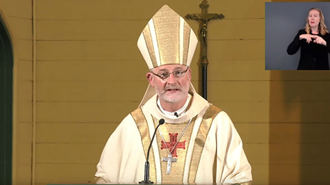 Bishop Shane Mackinlay at the Monday Morning Mass 4 October