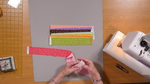 Flag sewing your binding strips with Valerie Nesbitt