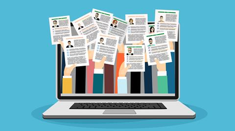 graphic of a laptop with hands coming out of the screen each holding a resume