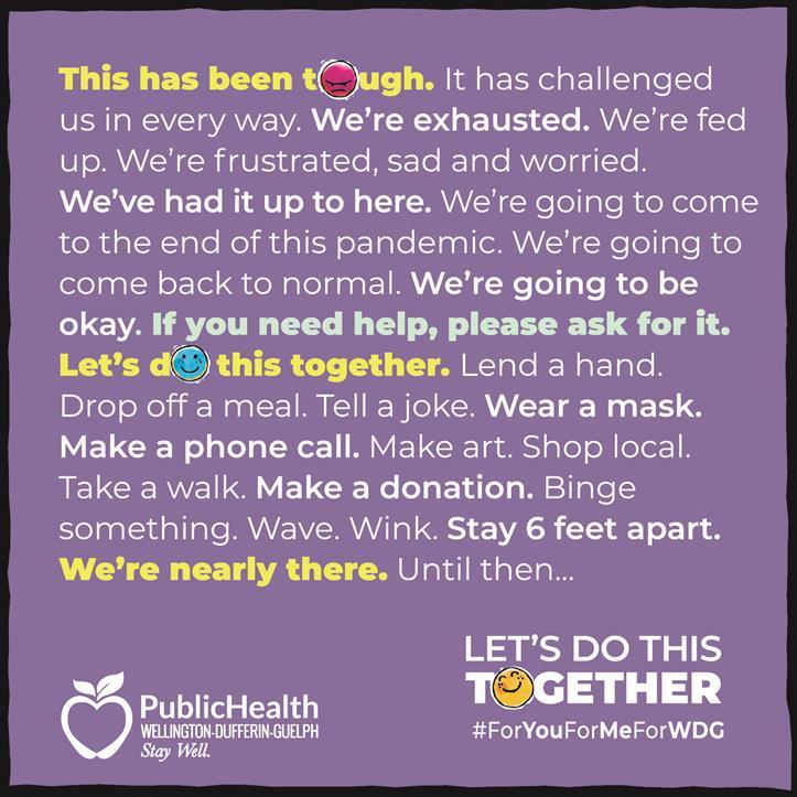 Wellington Dufferin Public Health campaign advertisement.