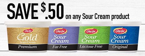 Save $.50 on any sour cream product. Photo of Gay Lea sour cream products