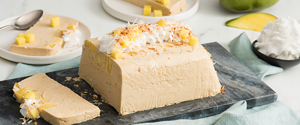 Photo of semifreddo dish topped with toasted coconut, mango and coconut whipped cream.