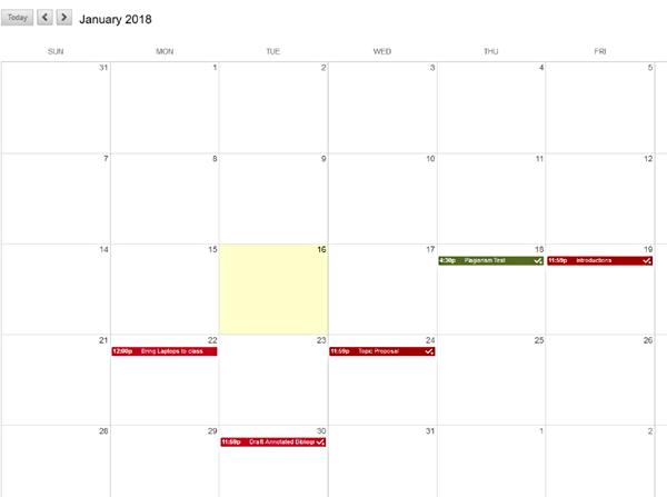 Image of the Blackboard Calendar