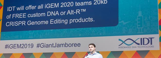 IDT announcing 2020 partnership at the iGEM 2019 Giant Jamboree