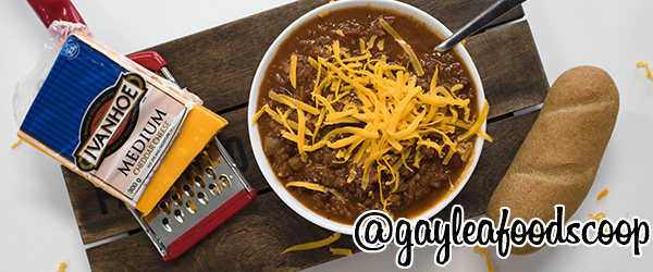 Photo of Chili topped with Ivanhoe Medium Cheddar Cheese