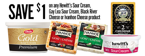 Coupon Save $1 on Hewitt's Sour Cream, Gay Lea Sour Cream, Black River Cheese or Ivanhoe Cheese product