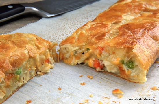 Leftover Turkey Pot Pie Stromboli