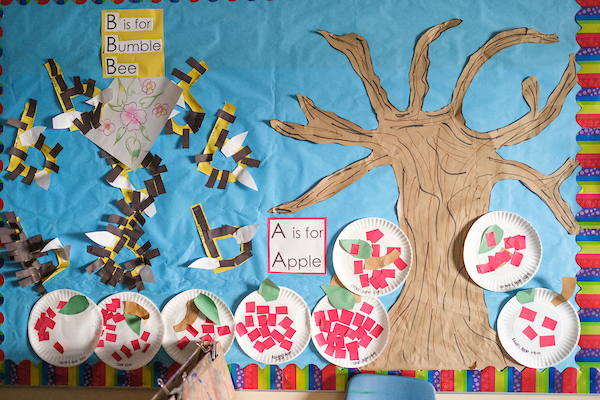 Bulletin board displaying artwork by young children