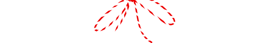 Red and White string bow