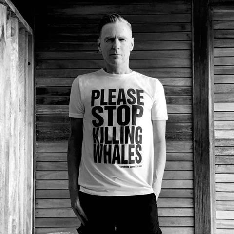 Bryan Adams wearing Please Stop Killing Whales t-shirt