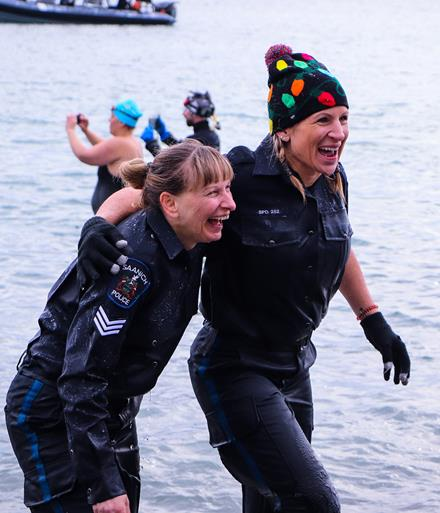 Saanich Police Department members at the Vancouver Island Polar Plunge