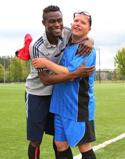 Vancouver Whitecaps FC midfielder Gershon Koffie and SOBC - Mission player Tom Hanna