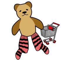 Cartoon drawing of teddy bear with stripy socks.