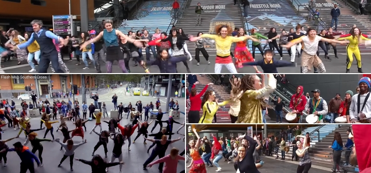 Flash mob Melbourne Djembe