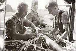 Engineers Soldering And Jointing Telephone Cable, 1945