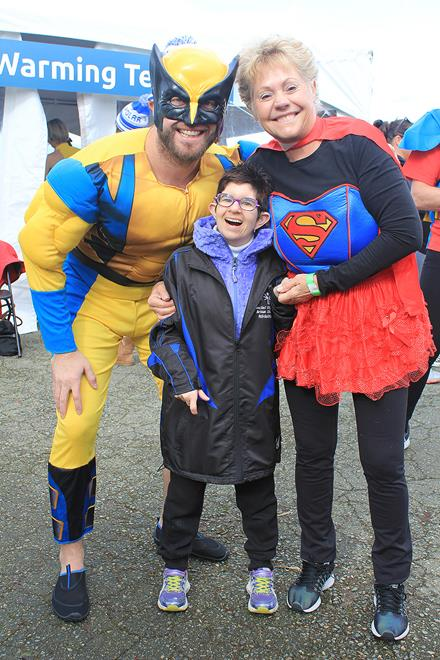 Superhero Polar Plungers Greg and Pam Keith with SOBC athlete Michaela Robinson
