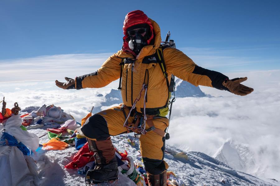 Jamie McGuinness on the summit of Everest