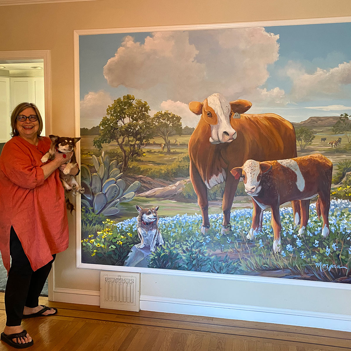 Cow Mural for Dining Room in Californian Home