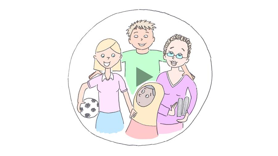 A screenshot from the Lighthouse Foundation video, showing a puzzled looking child surrounded by loving carers and mentors